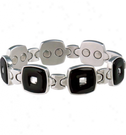 Sabona Lady Ezecutive Black/stainless Gem Magnetic Bracelet