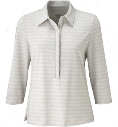 Tail Womens 3/4 Sleeve Metallic Stripe Snap Polo