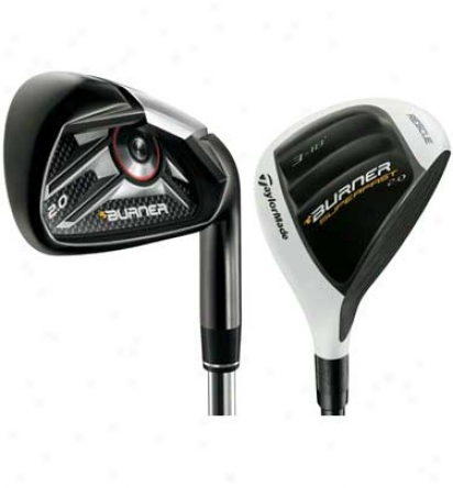 Taylormade Burner 2.0 Rescue Combo Iron Set 4h, 5h, 6-pw, Aw By the side of Steel Shafts