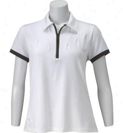 Tehama Wmens Short Sleeve 1/4 Zip Piped Polo