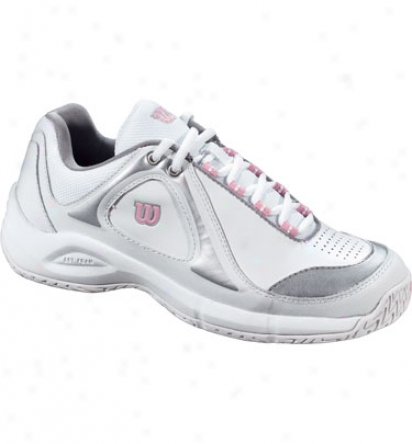 Wilon Tennis Closeout Womens Pro Staff Defender Tennis Shoes (white/silver/pink)