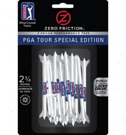 Zero Friction 2 3/4 White Pga Tour Tee-30 Pack
